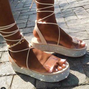 Nude rhinestoned lace up sandal